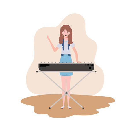 young woman with piano keyboard on white background vector illustration design