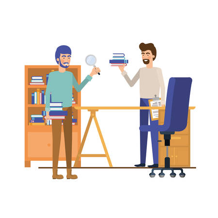 men in the work office with white background vector illustration design