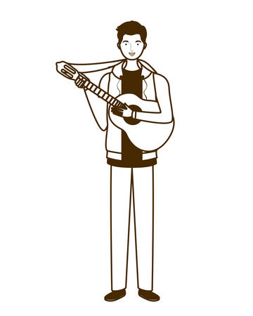 silhouette of man with acoustic guitar on white background vector illustration design