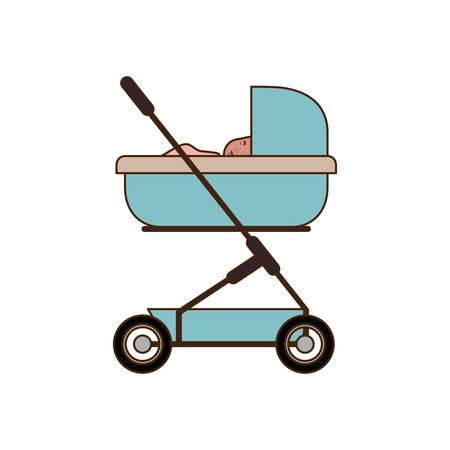 Baby boy inside stroller design, Child newborn childhood kid innocence and little theme Vector illustration