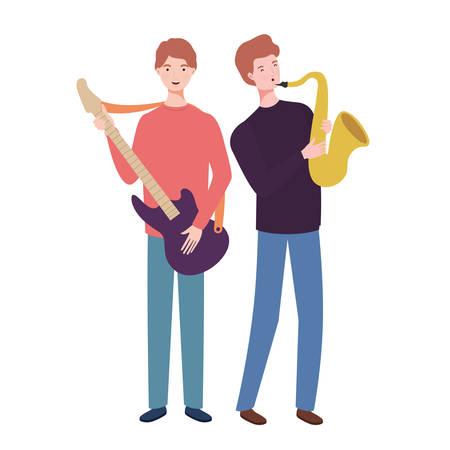men with musicals instruments on white background vector illustration design Illustration