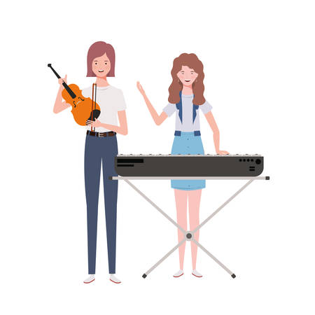 women with musicals instruments on white background vector illustration design  イラスト・ベクター素材