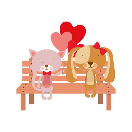 cute animals sitting in the park chair vector illustration design Stock Illustratie