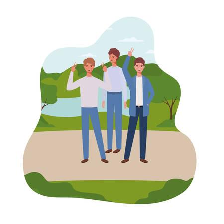 young men standing with landscape background vector illustration design