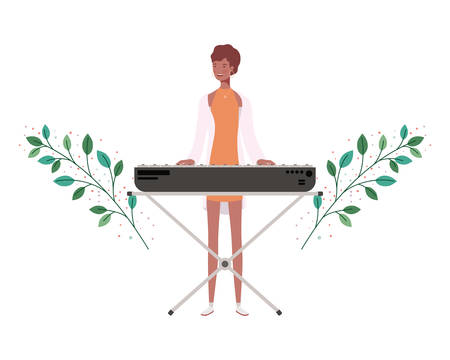 woman with piano keyboard and branches and leaves in the background vector illustration design  イラスト・ベクター素材