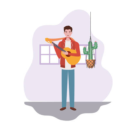 man with acoustic guitar and houseplants on macrame hangers of background vector illustration design