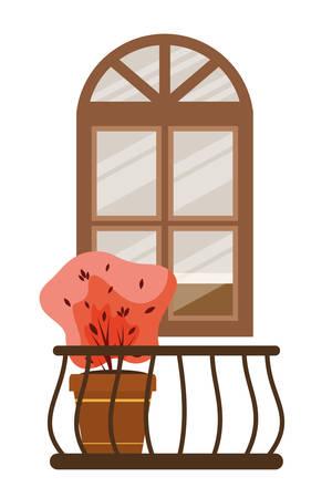 autumn plant in ceramic pot and balcony seasonal scene vector illustration design Ilustração Vetorial