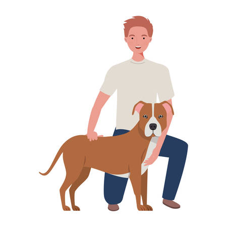 young man with cute dog mascot characters vector illustration design
