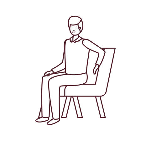 silhouette of man sitting in chair with white background vector illustration design