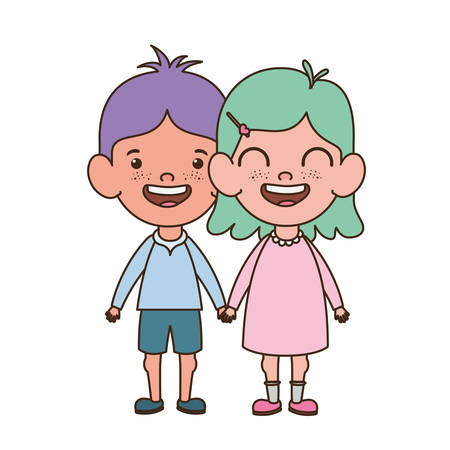 couple baby standing smiling on white background vector illustration design