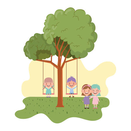 group of baby in swing smiling in landscape vector illustration design Иллюстрация