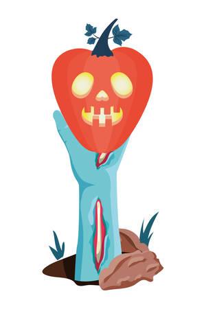 halloween sombie hand lifting pumpkin with dark face vector illustration design Foto de archivo - 130687462