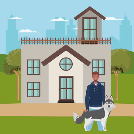 afro man with cute dog mascot in the outdoor house vector illustration design