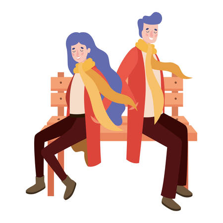 couple lovers seated in park chair with autumn suit characters vector illustration design
