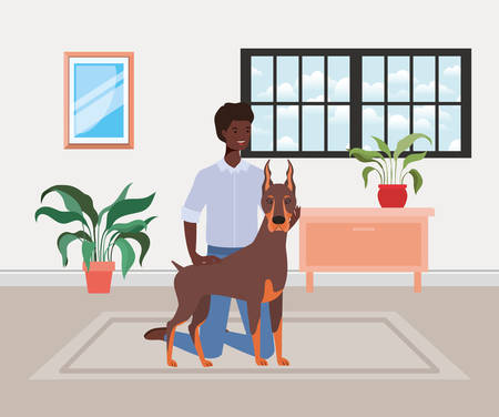 young afro man with cute dog mascot in the house room vector illustration design