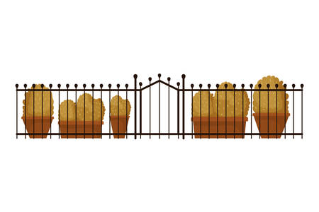 autumn bush plants in pots and fence seasonal scene vector illustration design 向量圖像