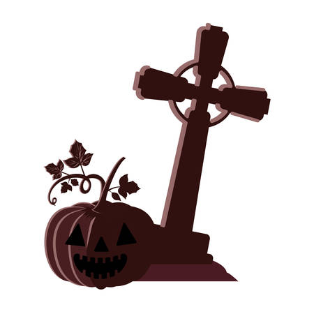 halloween pumpkin with dark face and cemetery cross vector illustration design Foto de archivo - 130687397