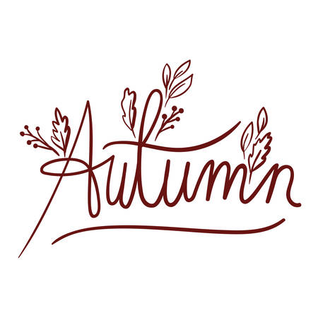 autumn word calligraphy isolated icon vector illustration design
