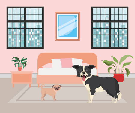 cute little dogs in the bedroom vector illustration design
