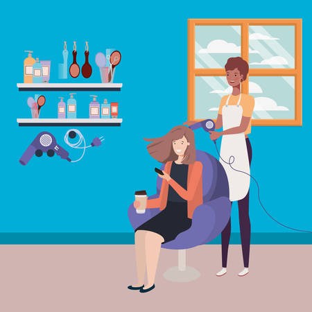 stylist fixing hair to client in the salon characters vector illustration design Иллюстрация