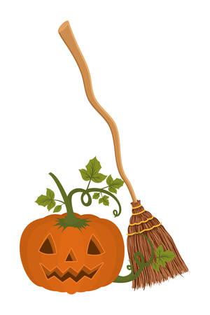 halloween pumpkin with broom icon vector illustration design Foto de archivo - 130687380