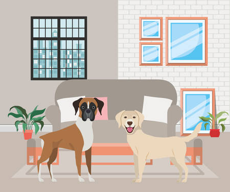cute little dogs in the livingroom vector illustration design