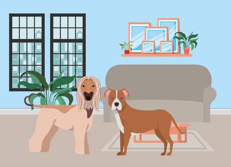 cute little dogs in the livingroom vector illustration design