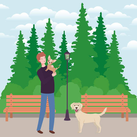 young man with cute dog mascot in the park vector illustration design