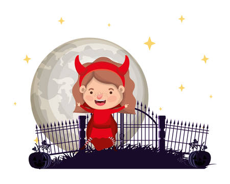 cute little girl with devil costume in cemetery scene vector illustration design 写真素材 - 130687304