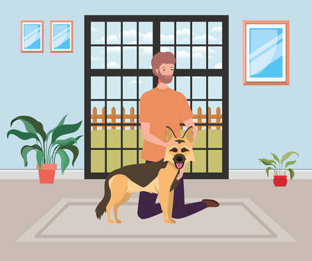 young man with cute dog mascot in the room house vector illustration design