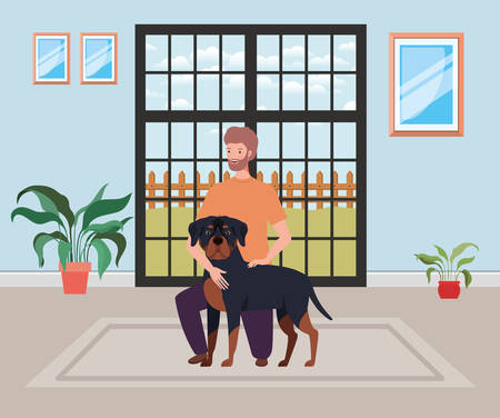 young man with cute dog mascot in the house room vector illustration design Illustration