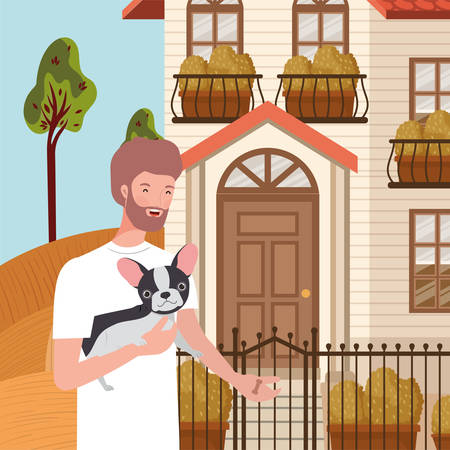 young man with cute dog mascot in the autumn city scene vector illustration design