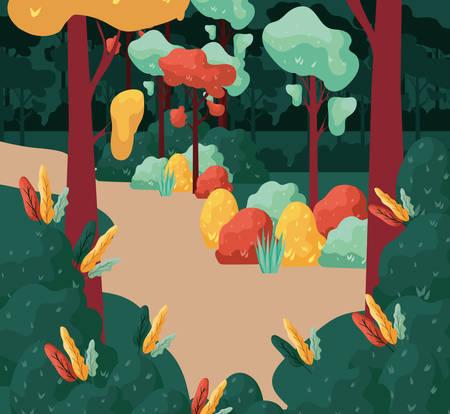 autumn forest scene seasonal icon vector illustration design 向量圖像