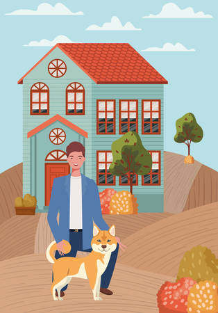 young man with cute dog mascot in the autumn city scene vector illustration design Vektorové ilustrace