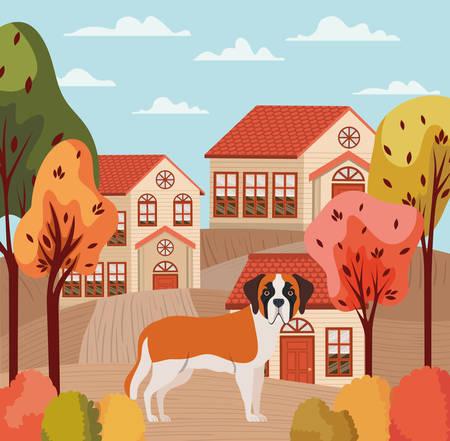 cute dog in beauty neighborhood autumn scene vector illustration design