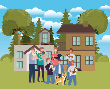 group of men with cute dogs mascots in outdoor house vector illustration design