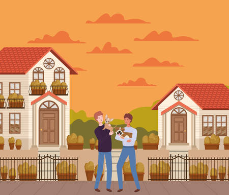 young men with cute dogs mascots in the autumn city scene vector illustration design