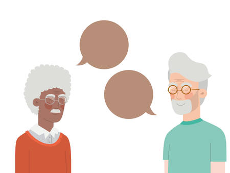 cute grandparents with speech bubble character vector illustration design Фото со стока - 130627074