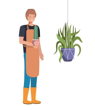 man with cactus in macrame hangers vector illustration design Фото со стока - 130636901