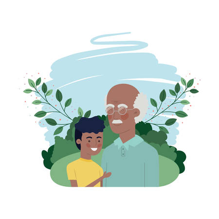 boy and grandfather with landscape character vector illustration design