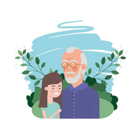 girl and grandfather with landscape character vector illustration design