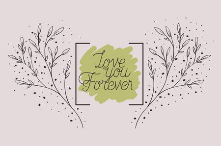 love card with herbs drawn frame vector illustration design Иллюстрация