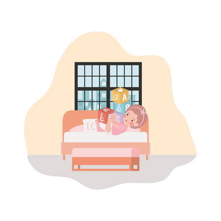 cute little girl baby in the bedroom character vector illustration design