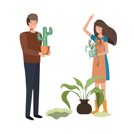 couple with trees to plant avatar character vector illustration design