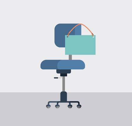 office chair iwith label hanging vector illustration design