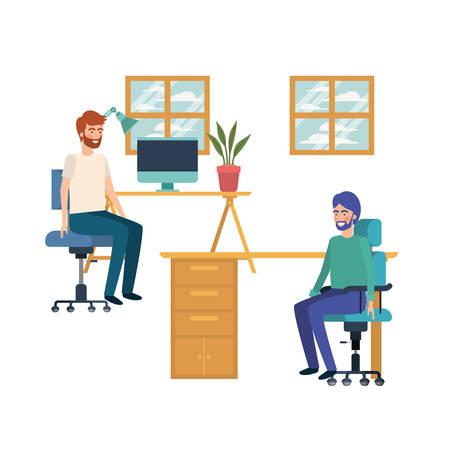 men sitting in the work office with white background vector illustration design Illusztráció