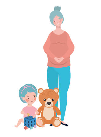 cute pregnancy mother with little girl characters vector illustration design