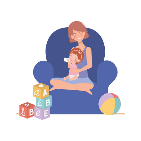 cute pregnancy mother with little girl seated in sofa vector illustration design Stockfoto - 130706452