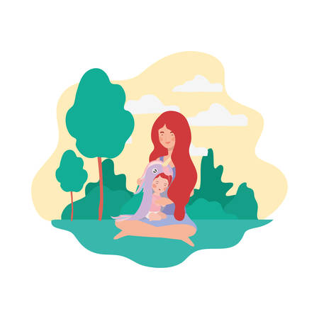 cute pregnancy mother seated with little girl in the camp vector illustration design