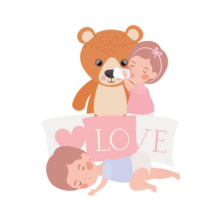 cute little kids babies with bear teddy and pillows characters vector illustration design Çizim